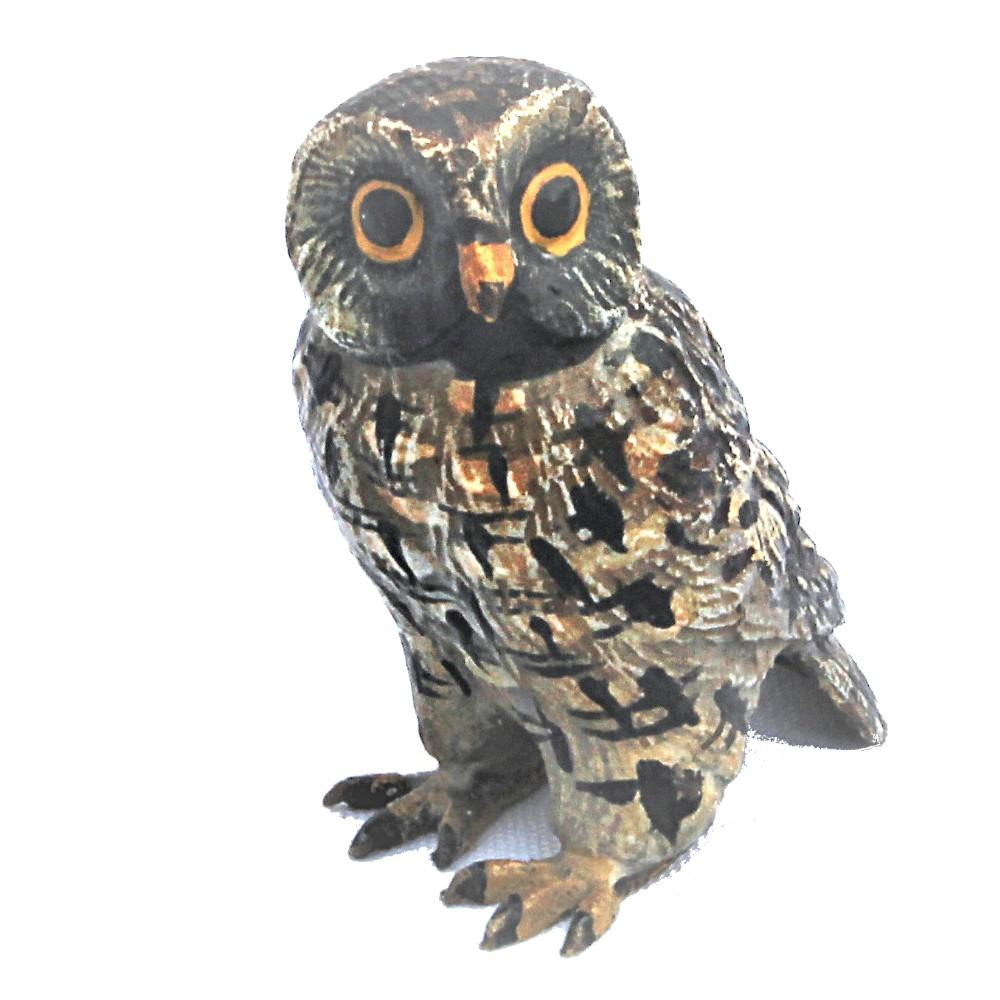 austrian cold painted bronze owl