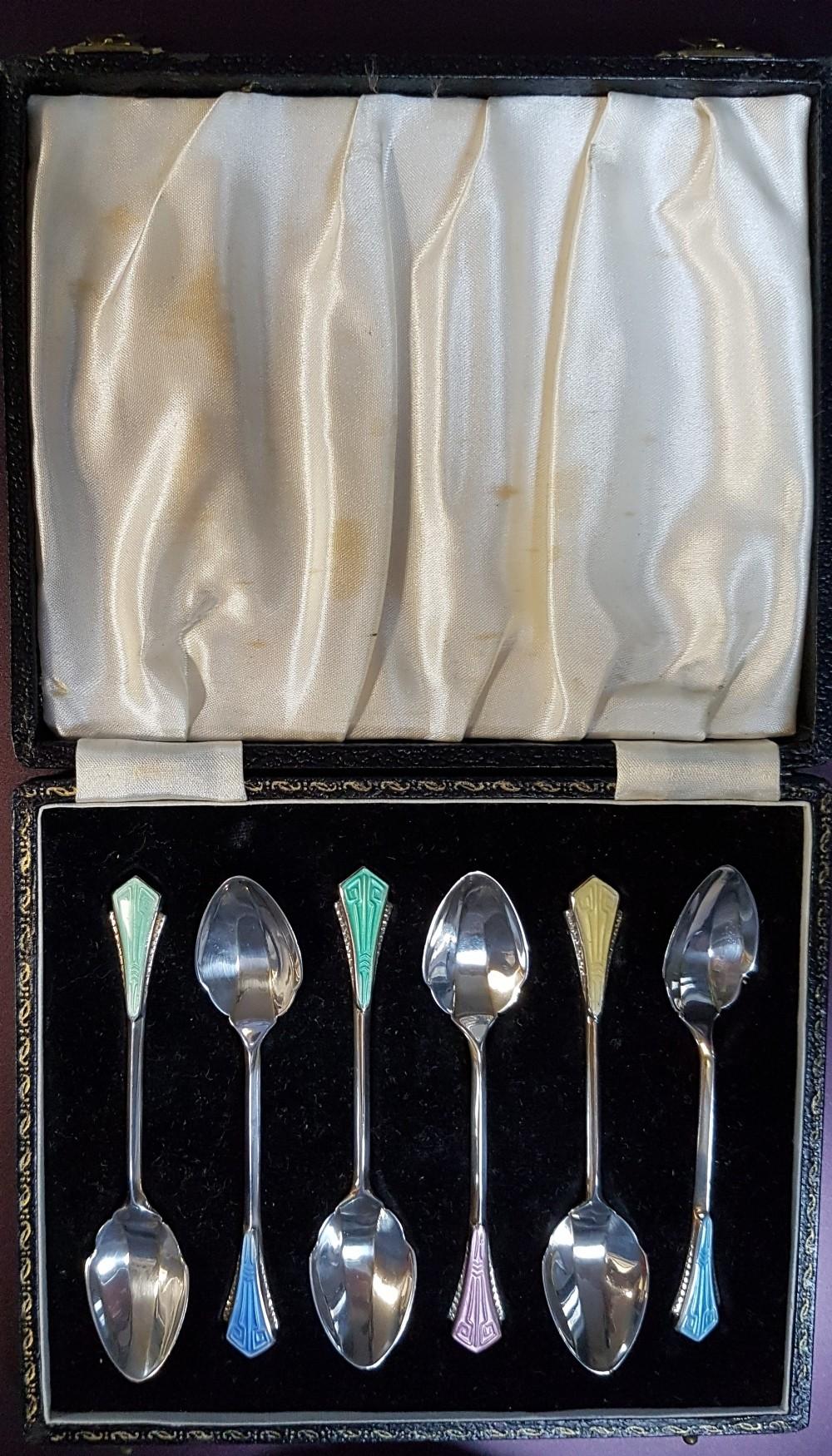 boxed set of 6 silver enamel teaspoons