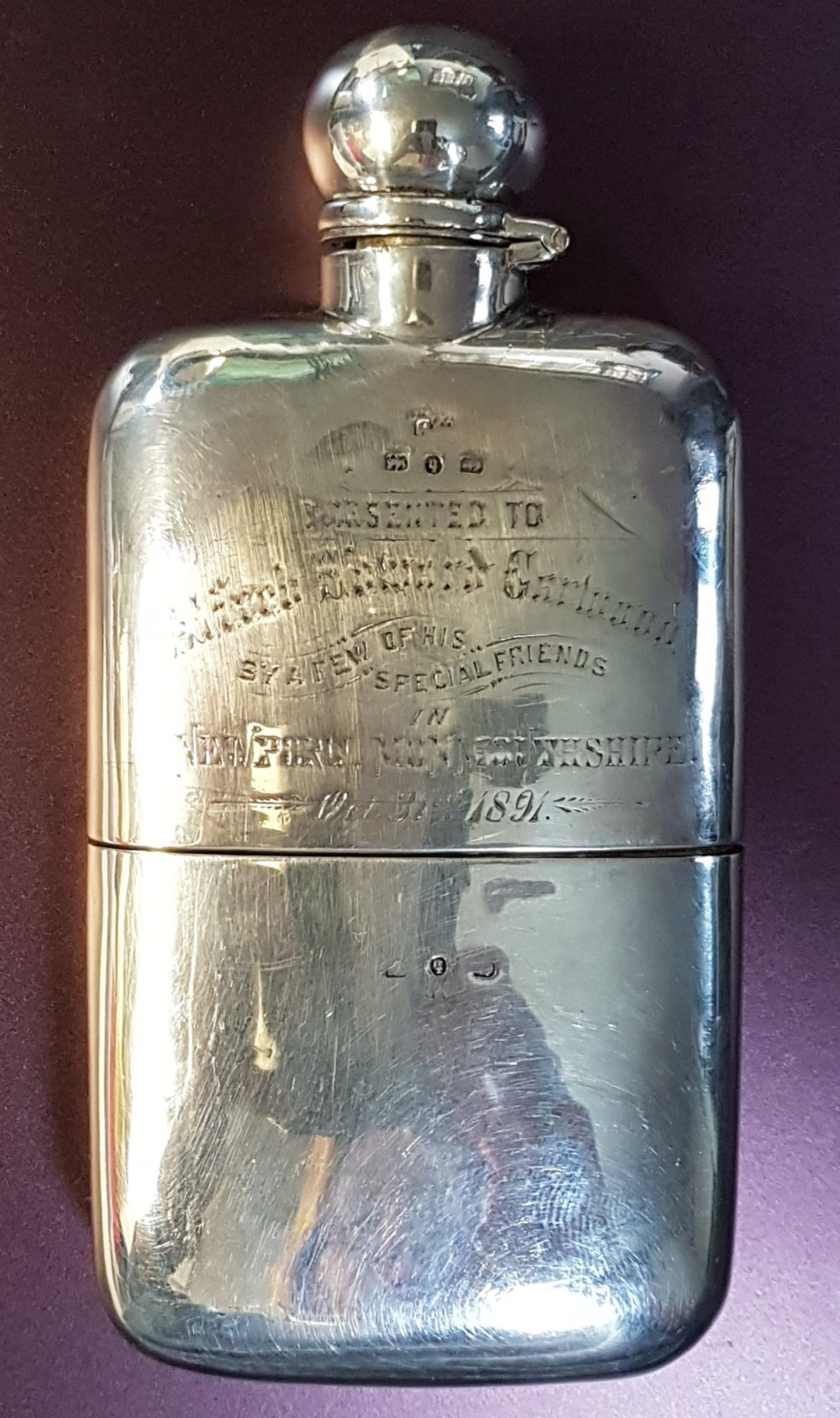 victorian sterling silver hip flask