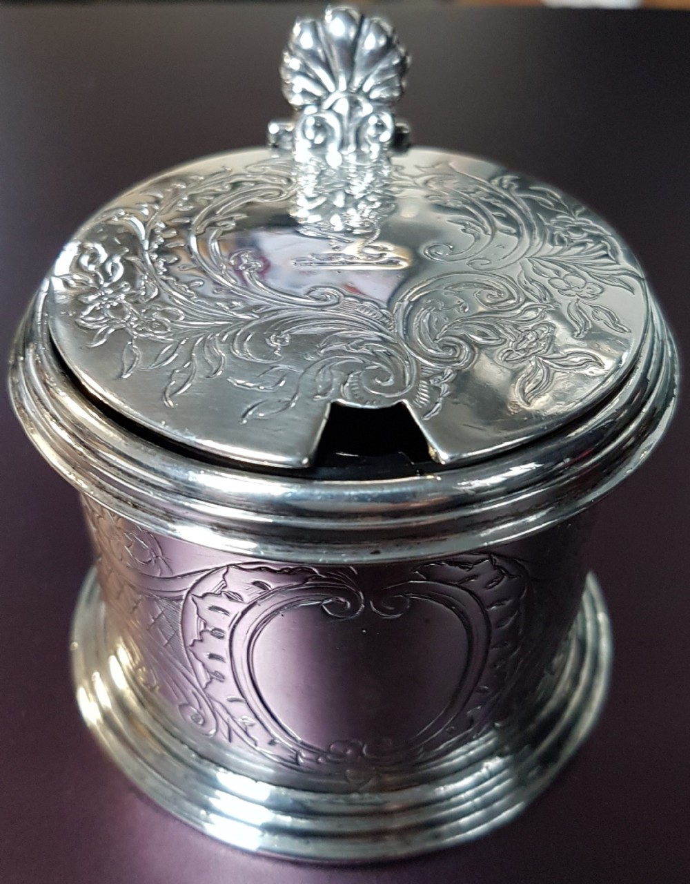early victorian sterling silver mustard pot tw original blue liner