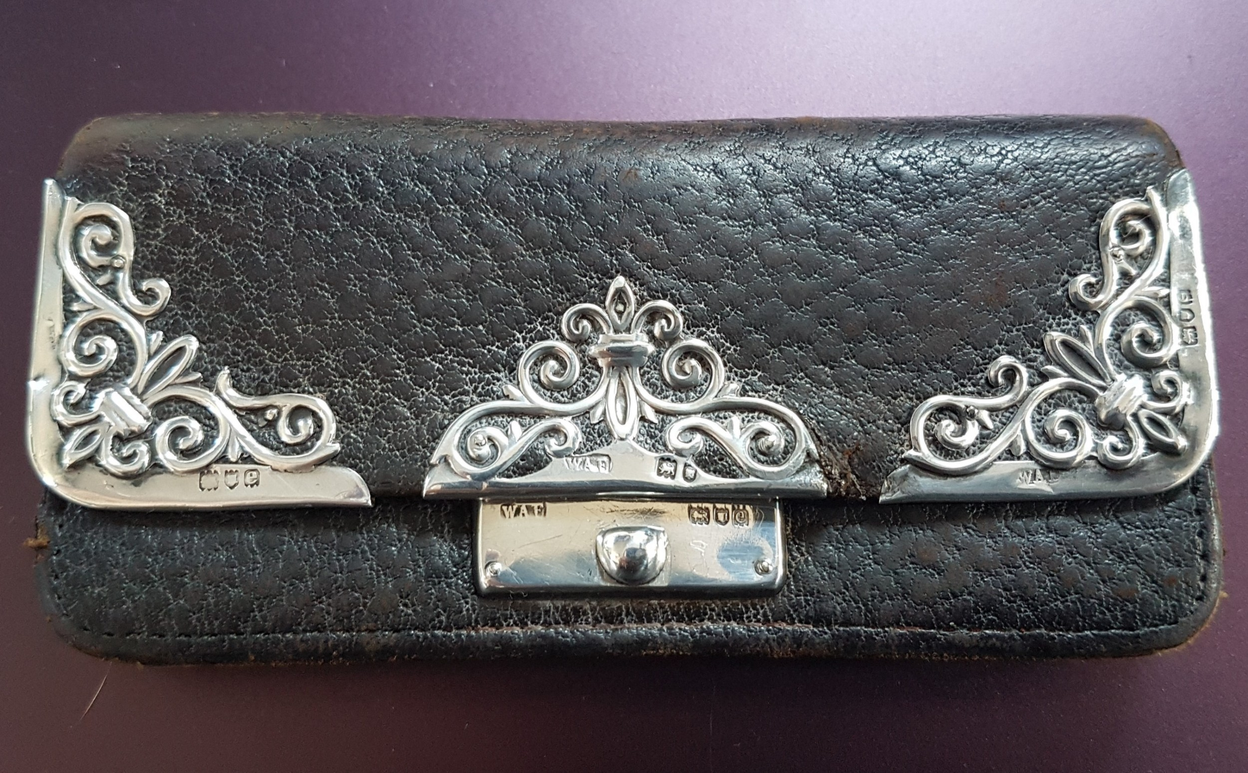 victorian ladies leather and sterling silver purse