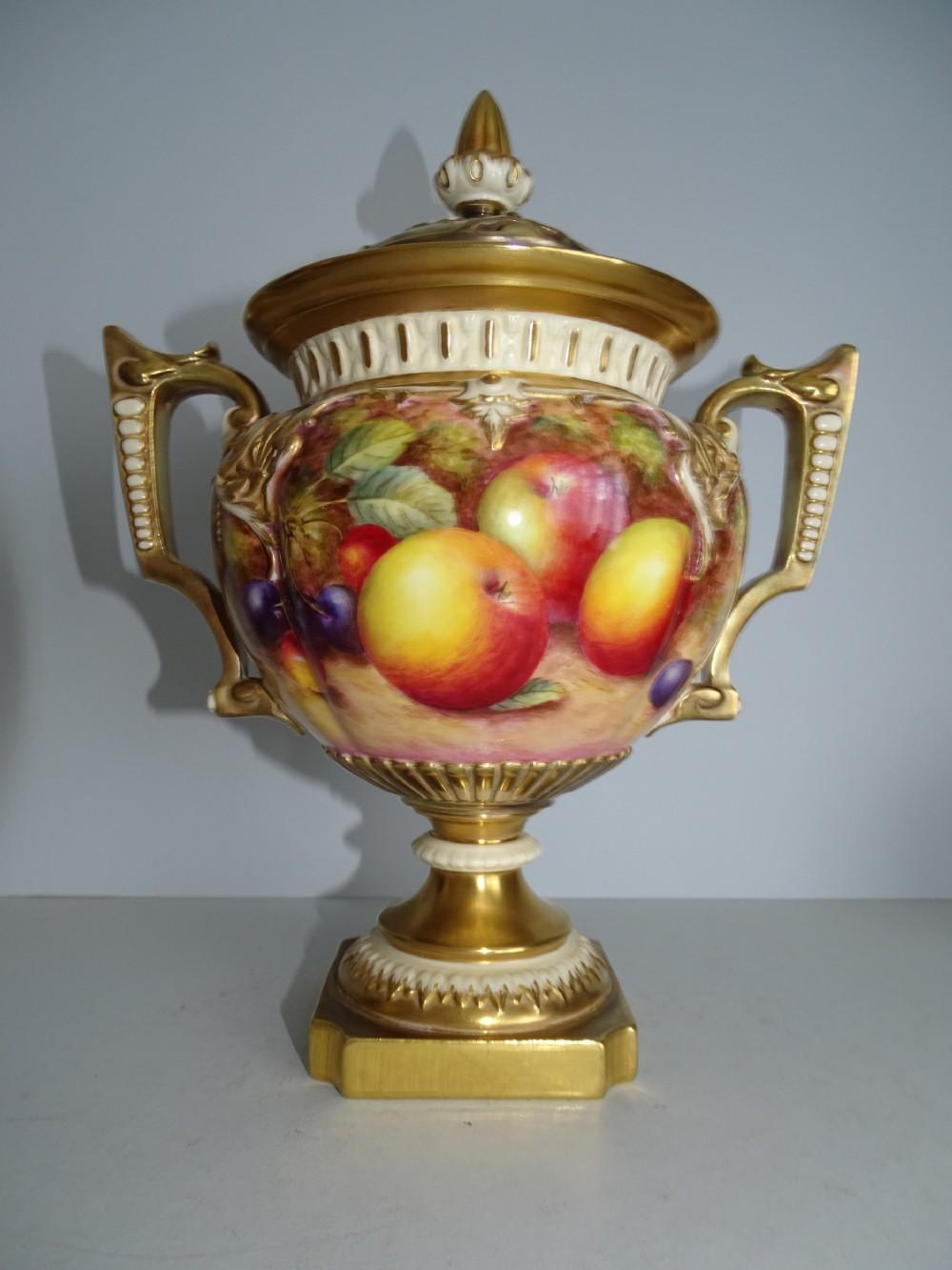 royal worcester fruit trophy vase
