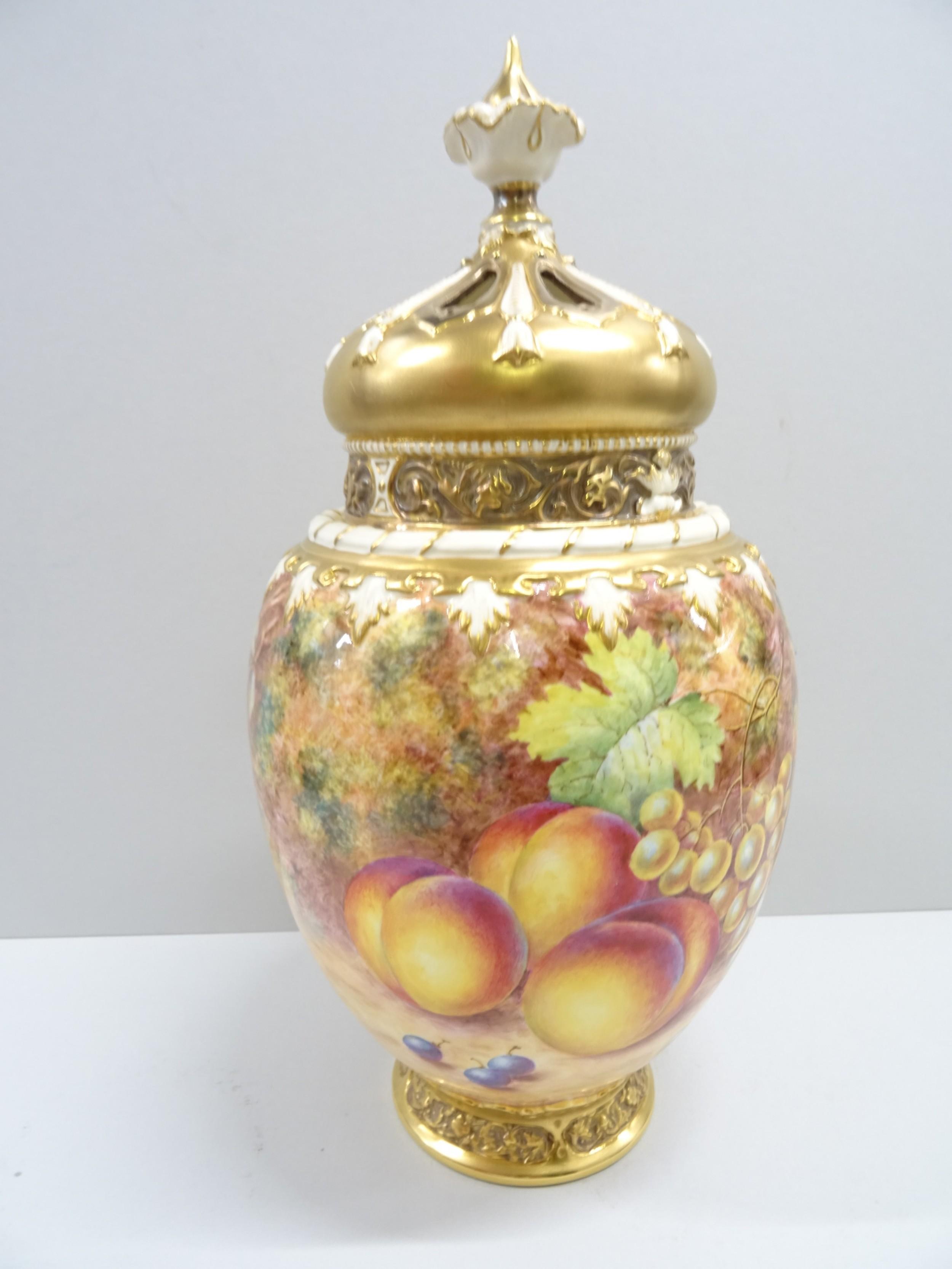 royal worcester fruit painted rose jar