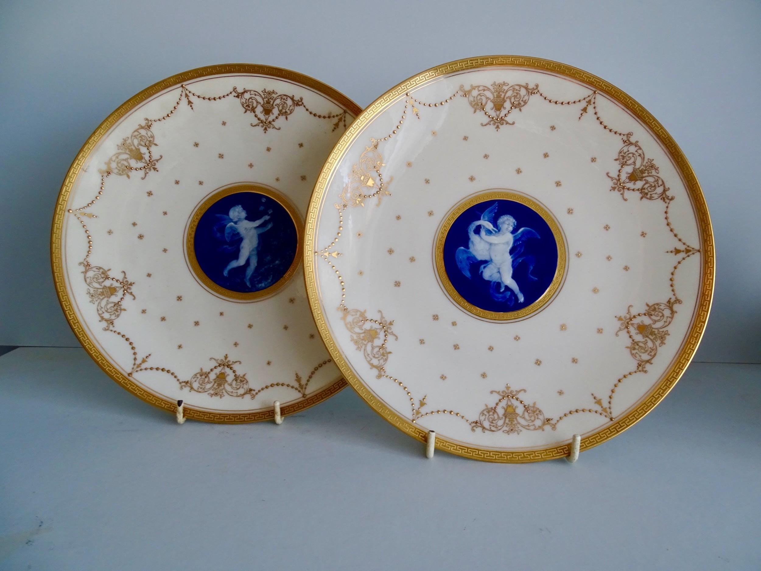 minton pair of pate sur pate plates