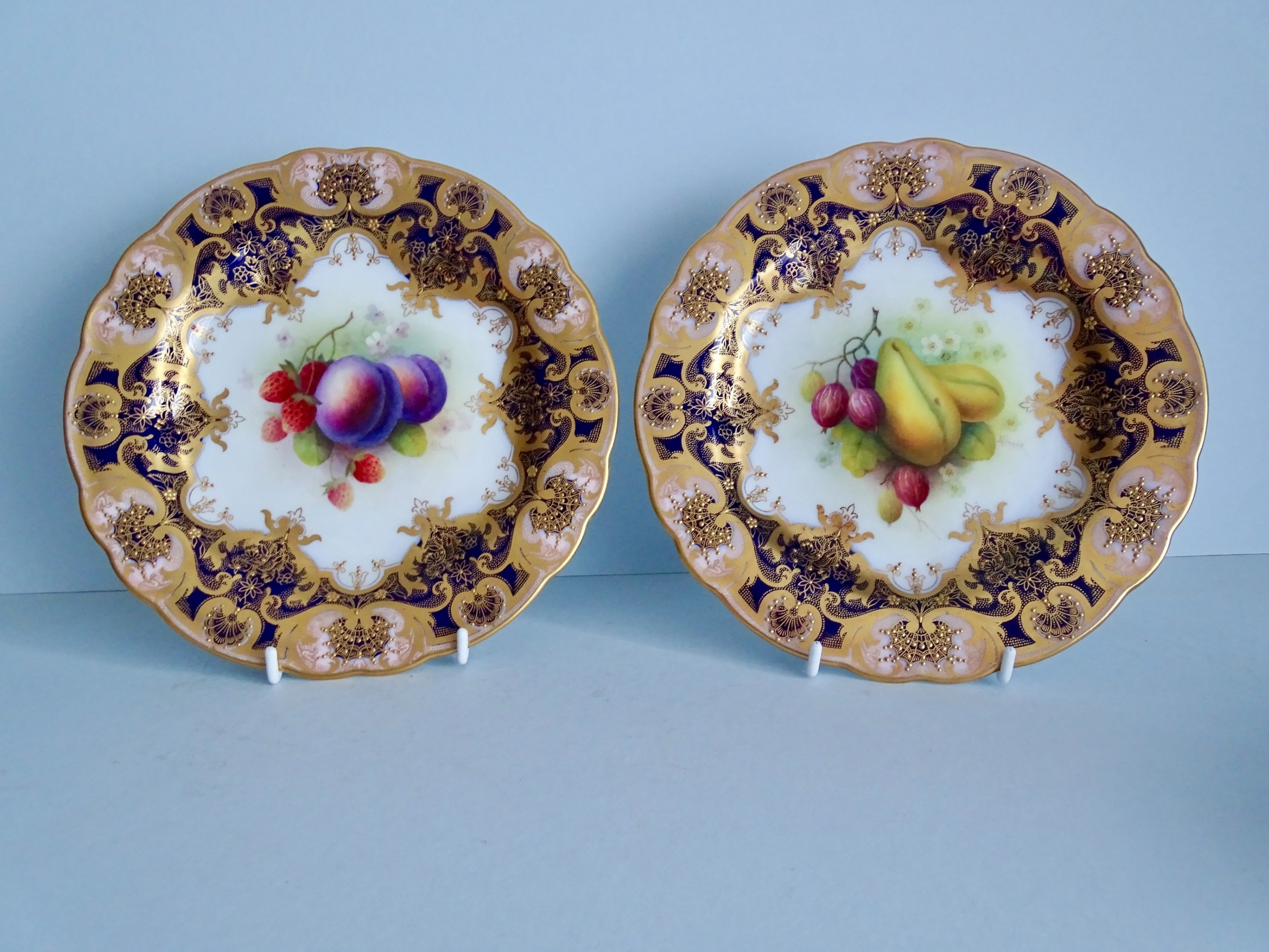 royal worcester pair of fruit plates