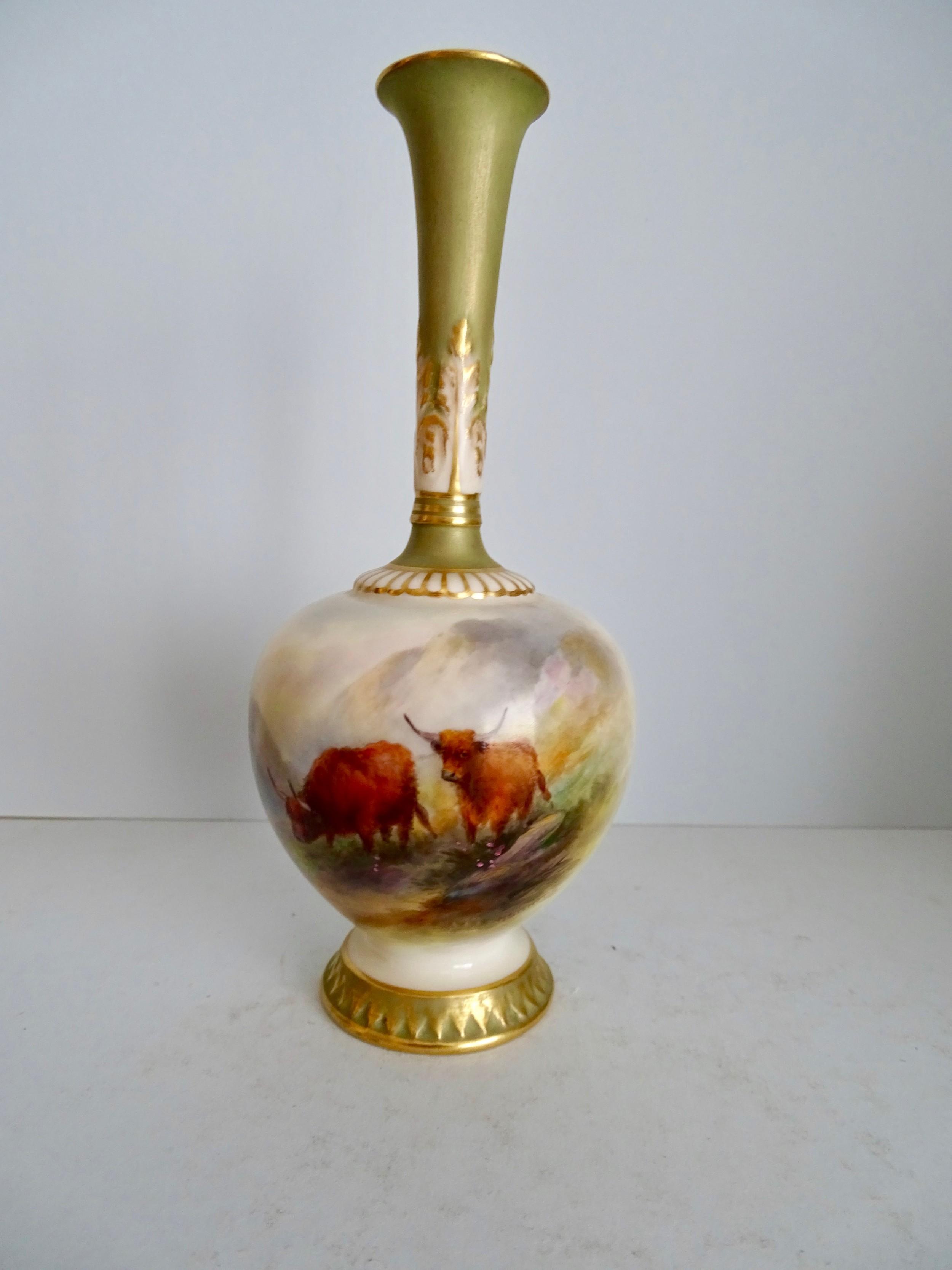 royal worcester cattle vase
