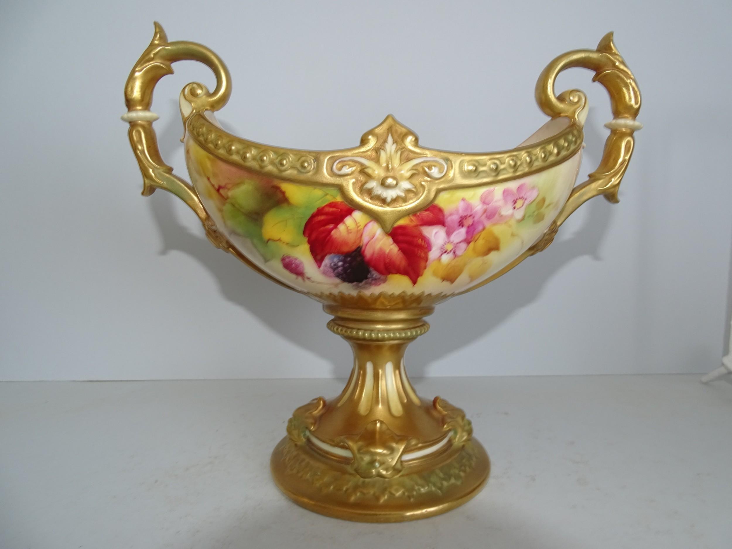 royal worcester stemmed boat shape bowl