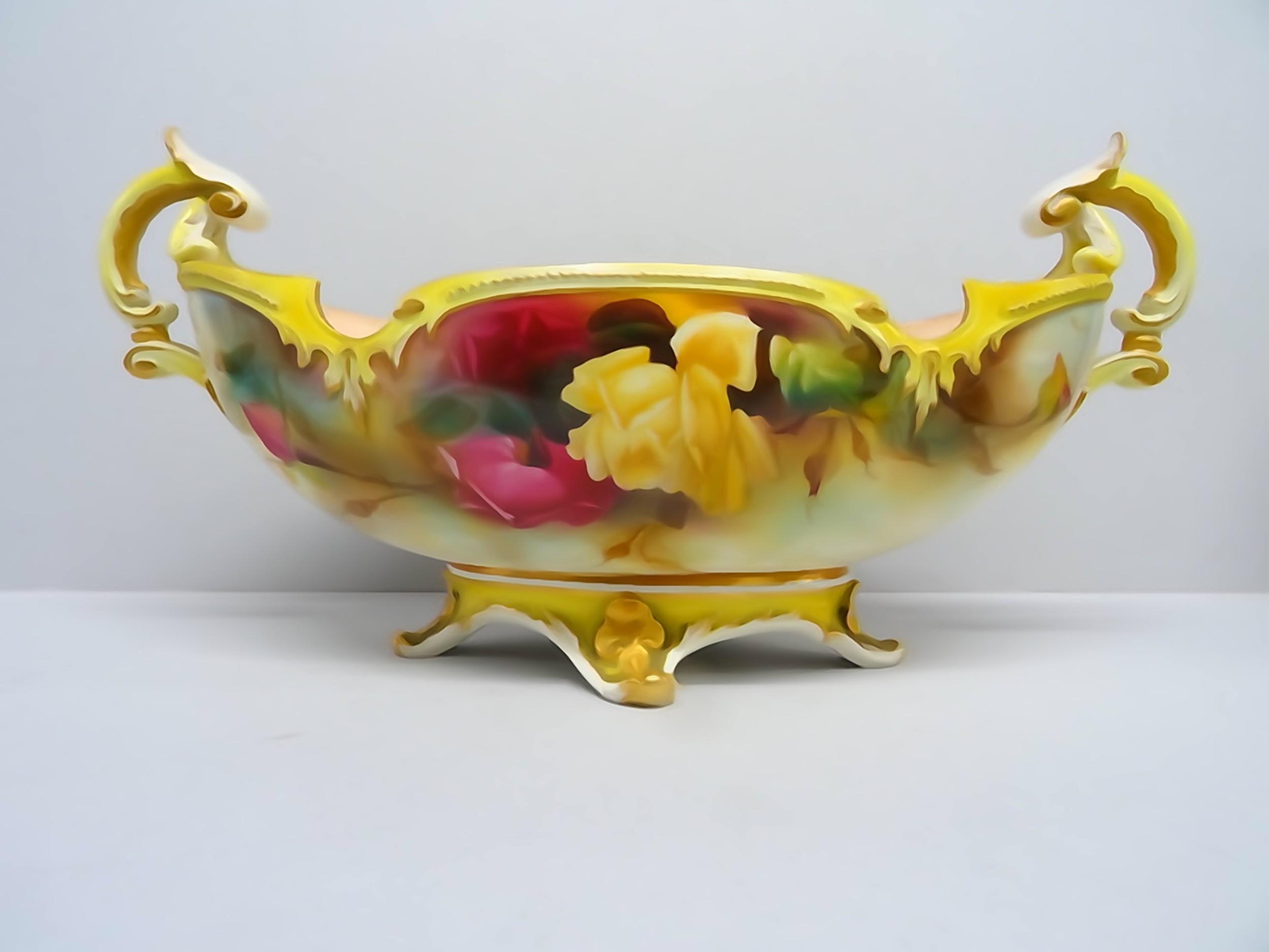 royal worcester rose boat vase