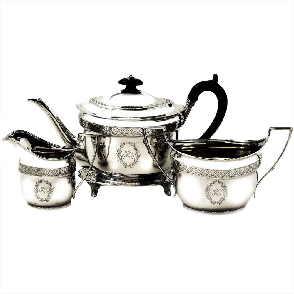 antique georgian sterling silver 4 piece tea set 1800 teapot on tray