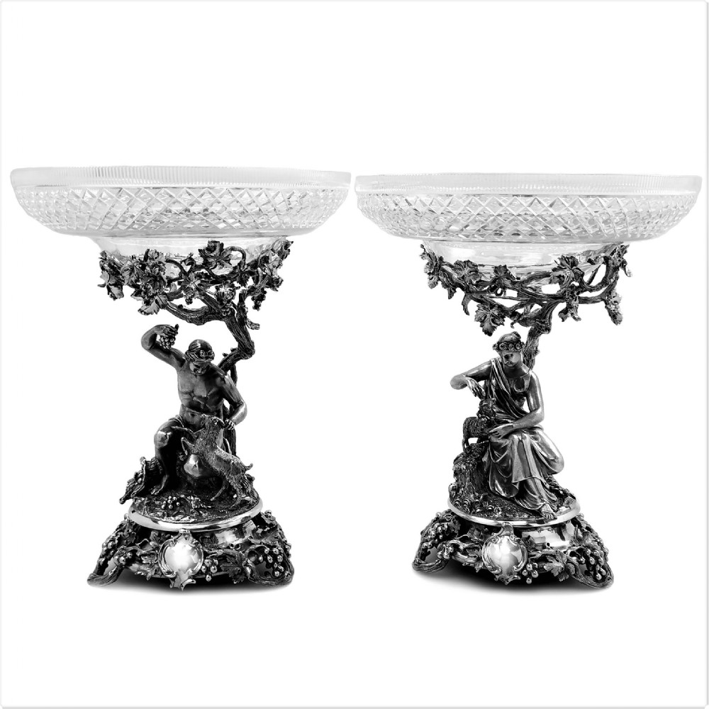 pair of antique victorian sterling silver and glass comports centrepieces 1848