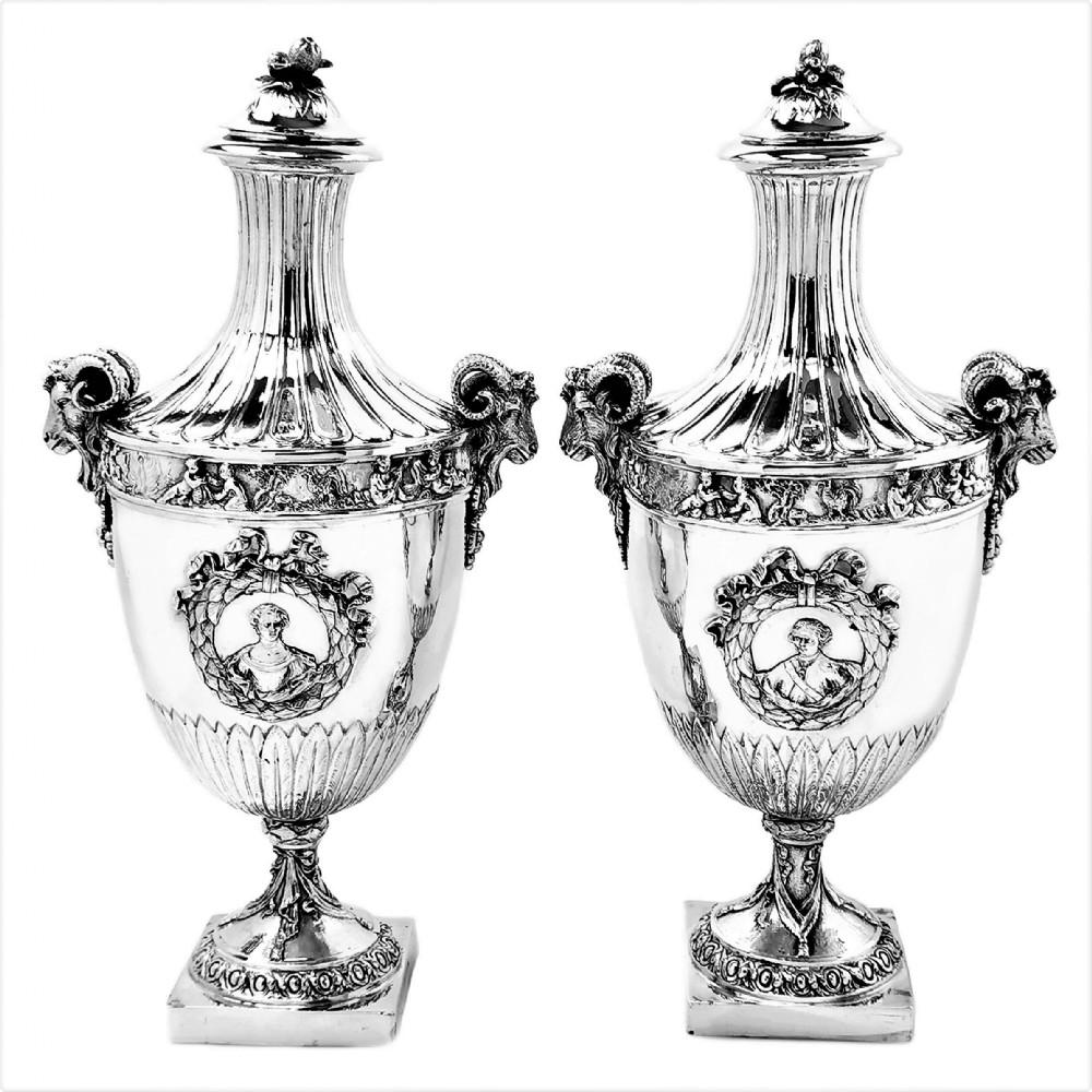 pair of antique german silver vases lidded urns circa 1880 hanau germany