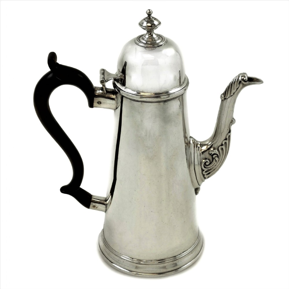 rare antique george i provincial sterling silver coffee pot liverpool 1725