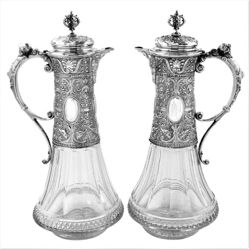pair antique german silver cut glass claret jugs wine decanters c 1880