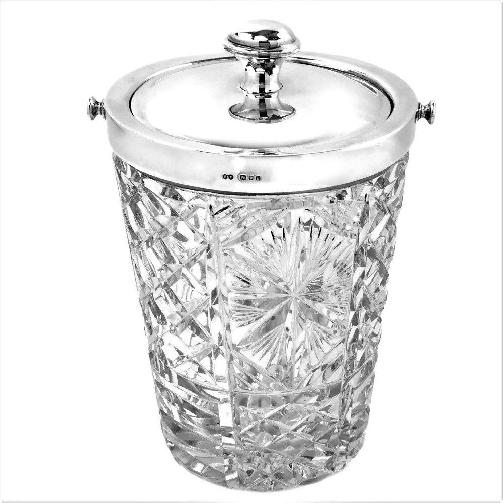 vintage sterling silver cut glass ice bucket england 1937