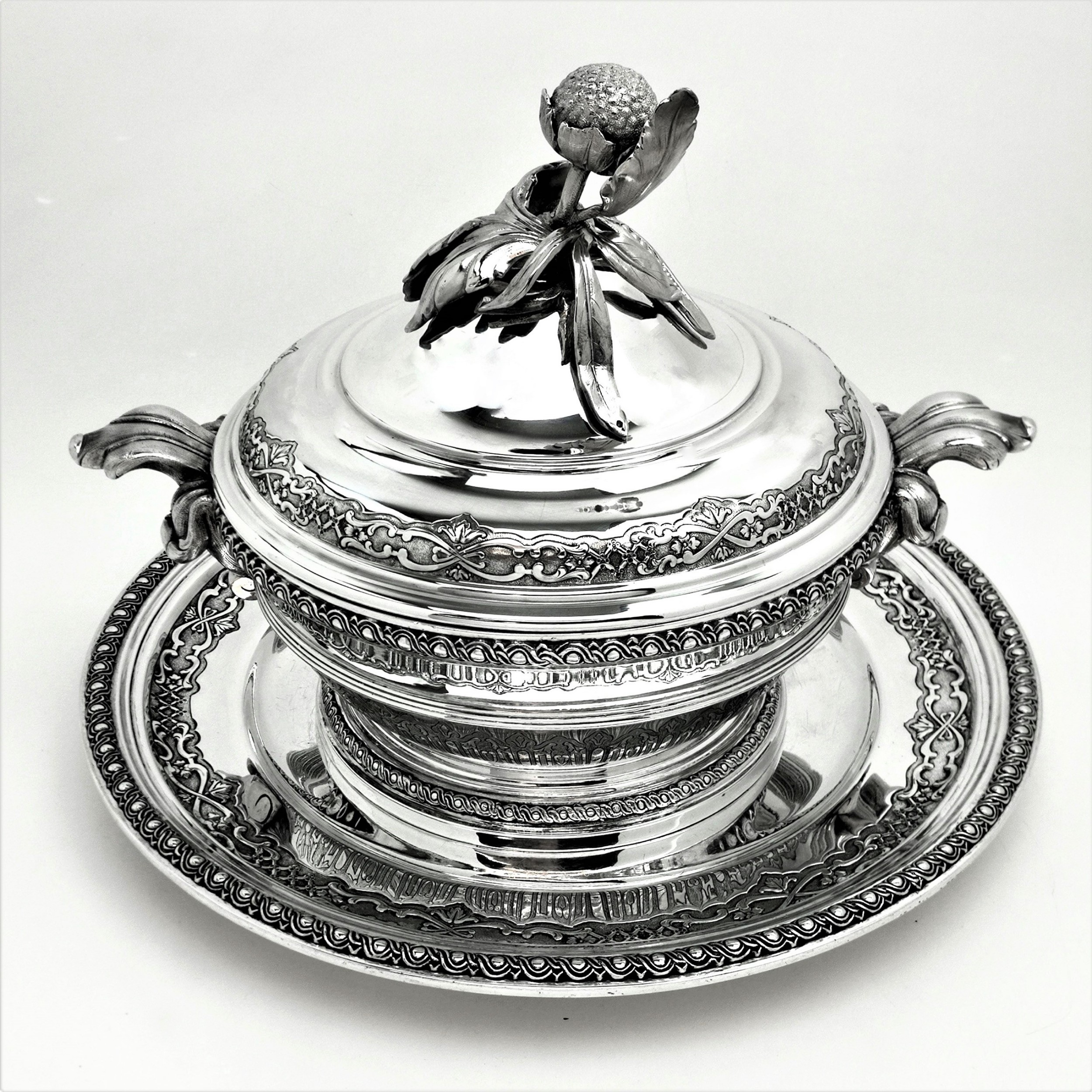 antique french solid silver soup tureen on stand circa 1890 platter cardeilhac