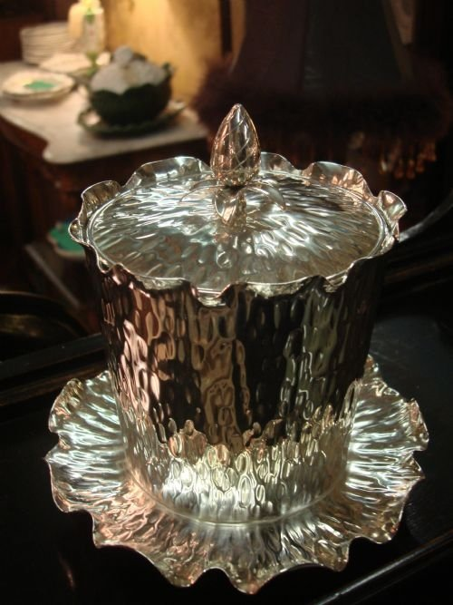 19th century victorian superb silver plate biscuit barrel by famed makers hukin and heath