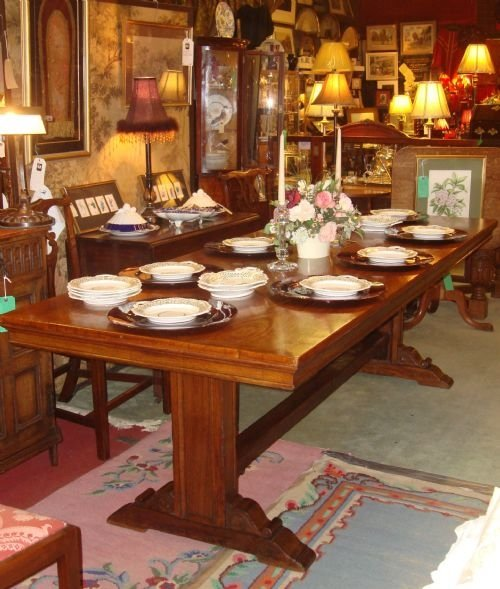 Circa 1920 beautiful large 8 foot long solid oak refectory for 12 foot long dining room table
