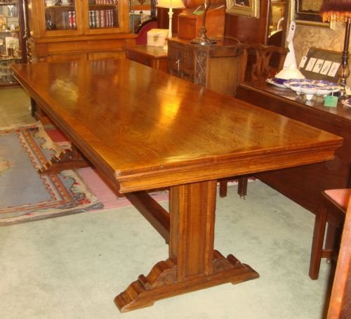 12 Foot Dining Room Tables: Circa 1920 Beautiful Large 8 Foot Long Solid Oak Refectory