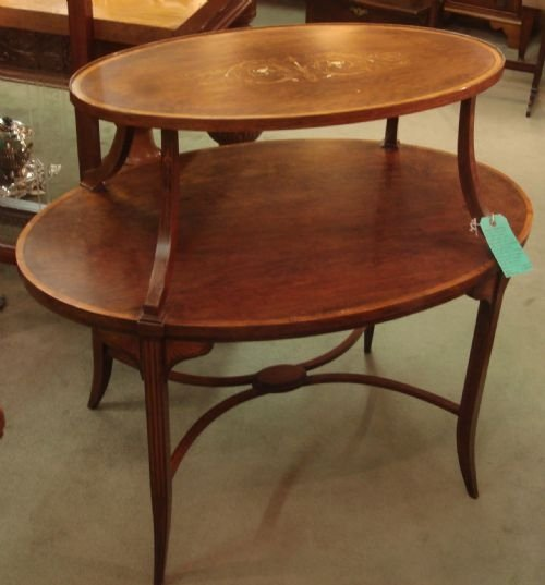circa 1900 exquisite edwardian rosewood and satinwood bodied ivory and ebony inlaid oval etagere table