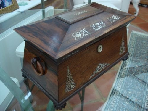 william iv period circa 1830 wonderful large rosewood tea caddy box or chest with beautiful mother of pearl bird and foliate inlay