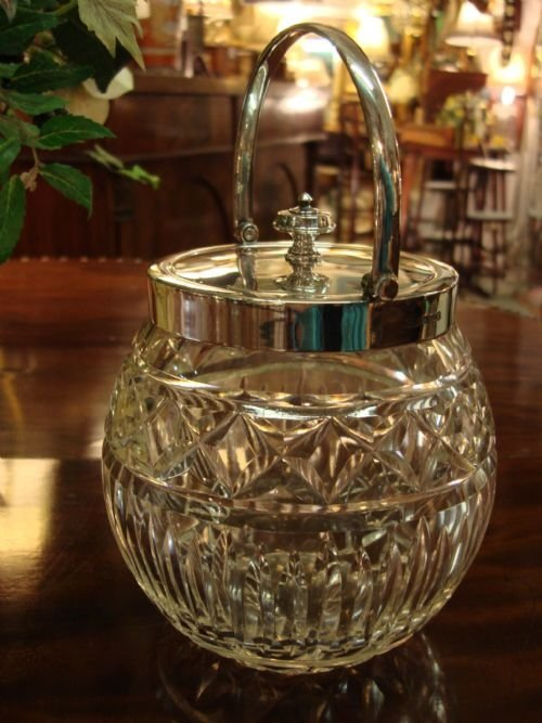 beautiful hallmarked sterling silver and cut glass biscuit box or barrel made by famous makers james dixon and sons