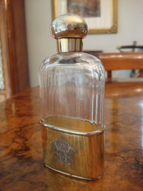london 1891 solid silver gilt and cut glass spirit flask