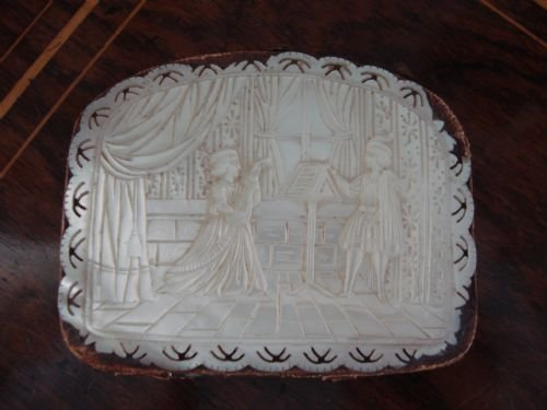 lovely 19th century hand carved mother of pearl and leather coin purse