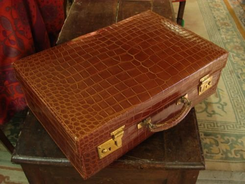 Wonderful Quality Early 20th Century Vintage Crocodile Suitcase ...