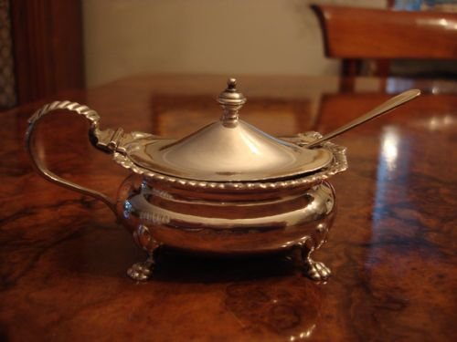 birmingham 1930 solid silver large oval mustard pot and spoon