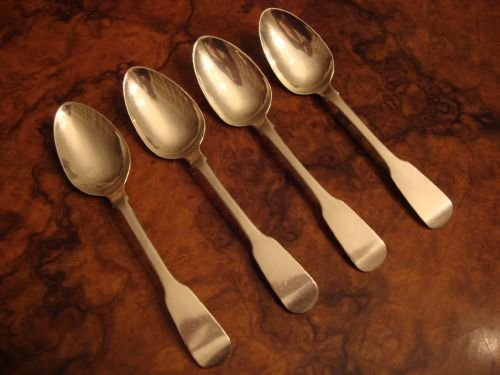dublin 1824 set of four irish solid silver teaspoons made by samuel neville