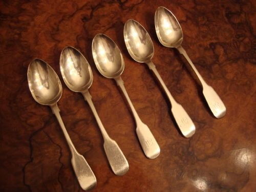 exeter 1852 solid silver set of 5 teaspoons assayed by very collectable english provincial assay office