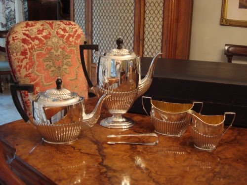 rare antique solid silver boxed 5 piece sheffield 1906 hallmarked complete tea and coffee service in the original fitted case made by very collectable maker harry atkin