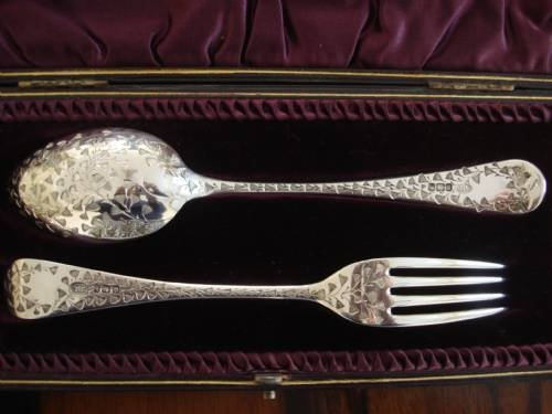 sheffield 1894 victorian solid silver absolutely exquisite large childs christening set by famous art nouveau period silversmith john round