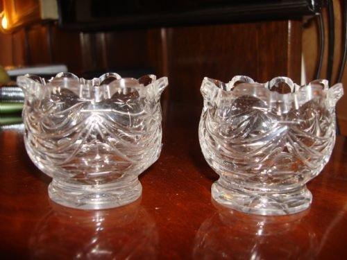 19th century georgian pair of cut glass salts with draped swag design