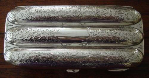 a fine birmingham 1905 hallmarked solid silver triple cigar case of torpedo form made by george edwin walton