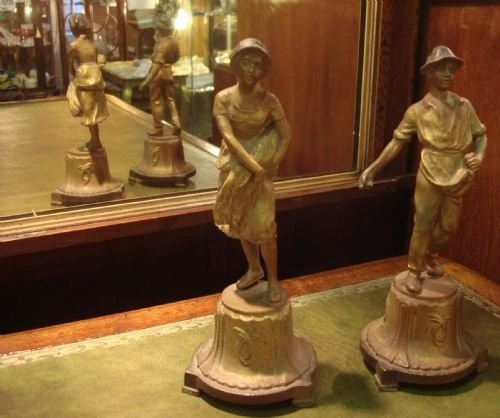 turn of 19th20th century pair of gilt spelter figures of harvesters