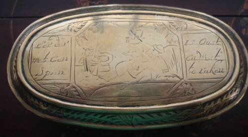 18th century dutch hand wrought brass oval engraved tobacco box