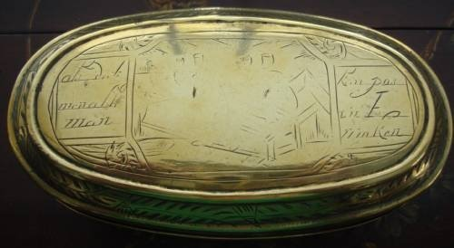 18th century dutch hand wrought brass oval engraved tobacco box - photo angle #2