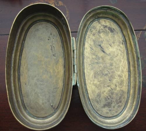 18th century dutch hand wrought brass oval engraved tobacco box - photo angle #5