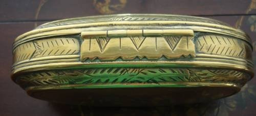 18th century dutch hand wrought brass oval engraved tobacco box - photo angle #3