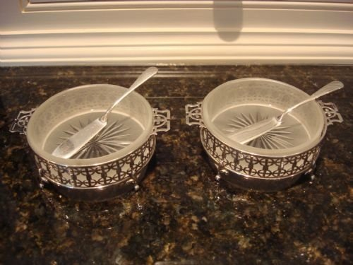 birmingham 1958 beautiful original pair of solid silver butter dishes and matching knives by adie brothers