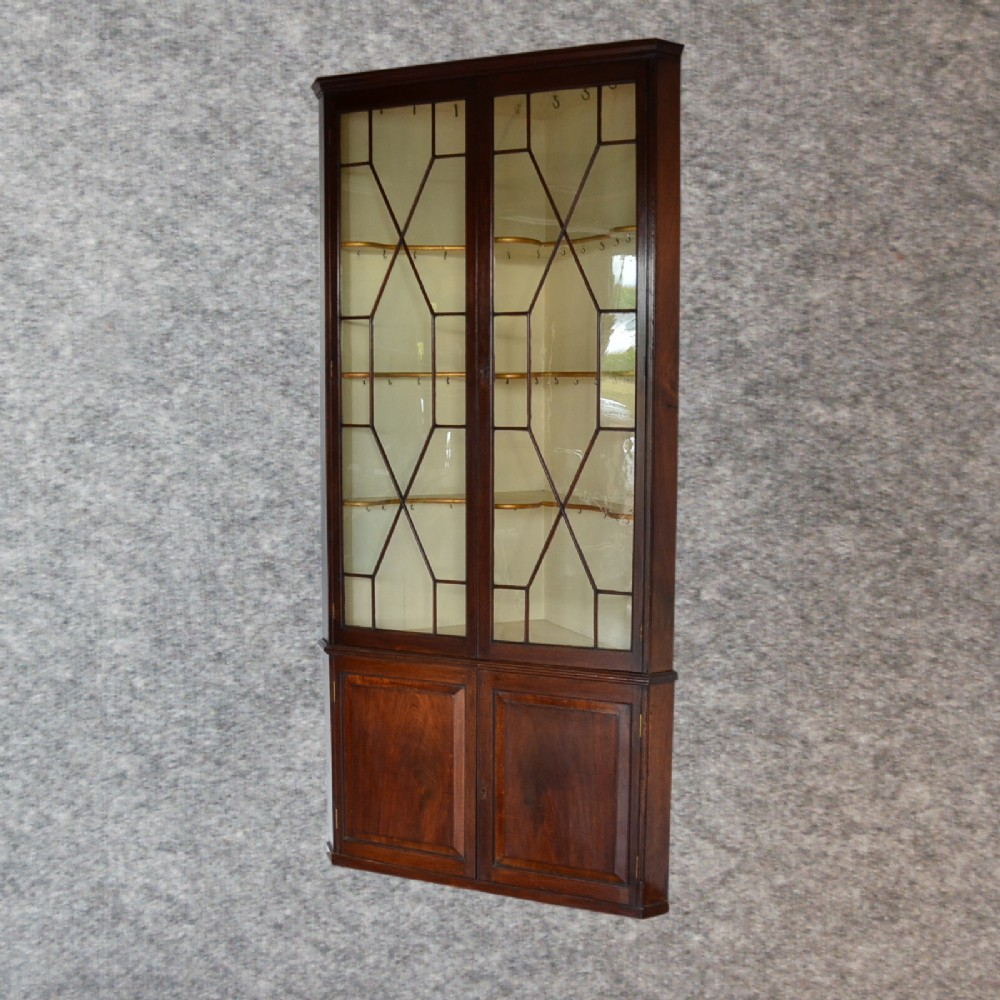 Antique 8 39 tall corner display cabinet astragal glazed for Antique display cabinet