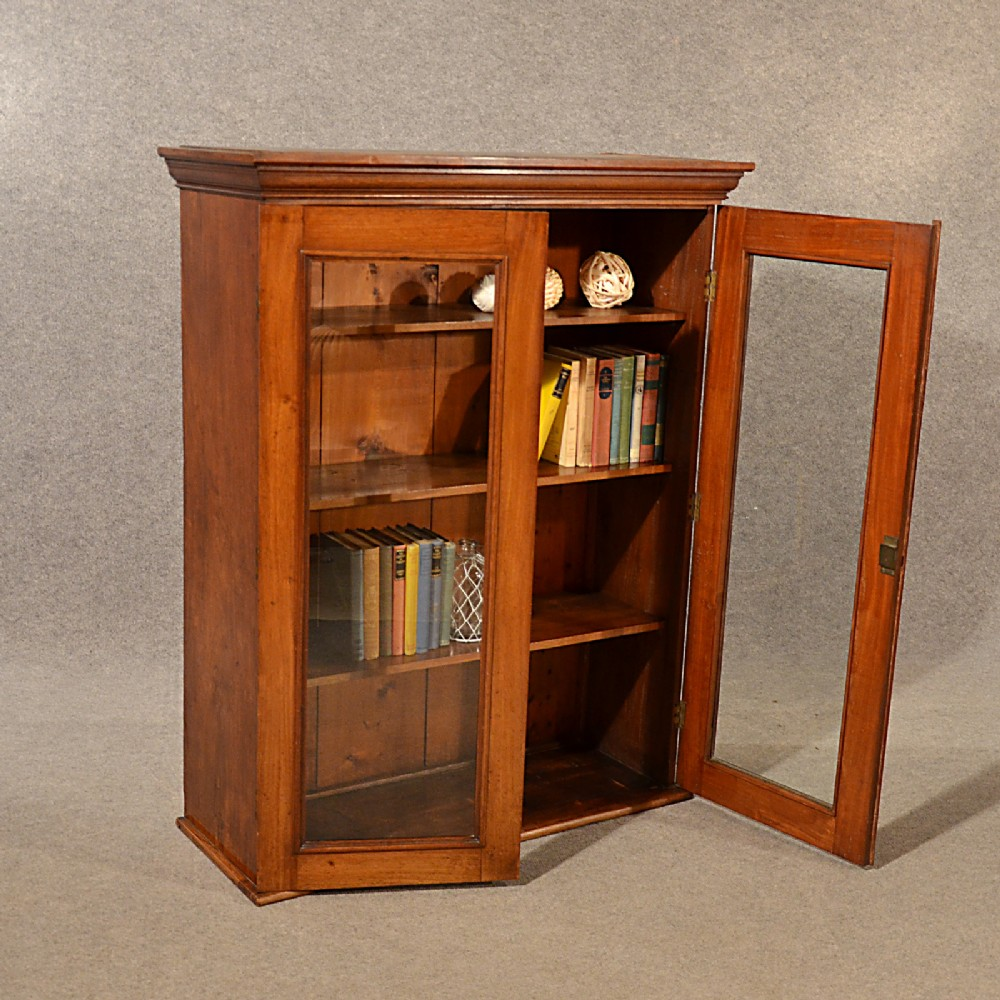 Antique Bookcase Display Library Glazed Cabinet Victorian