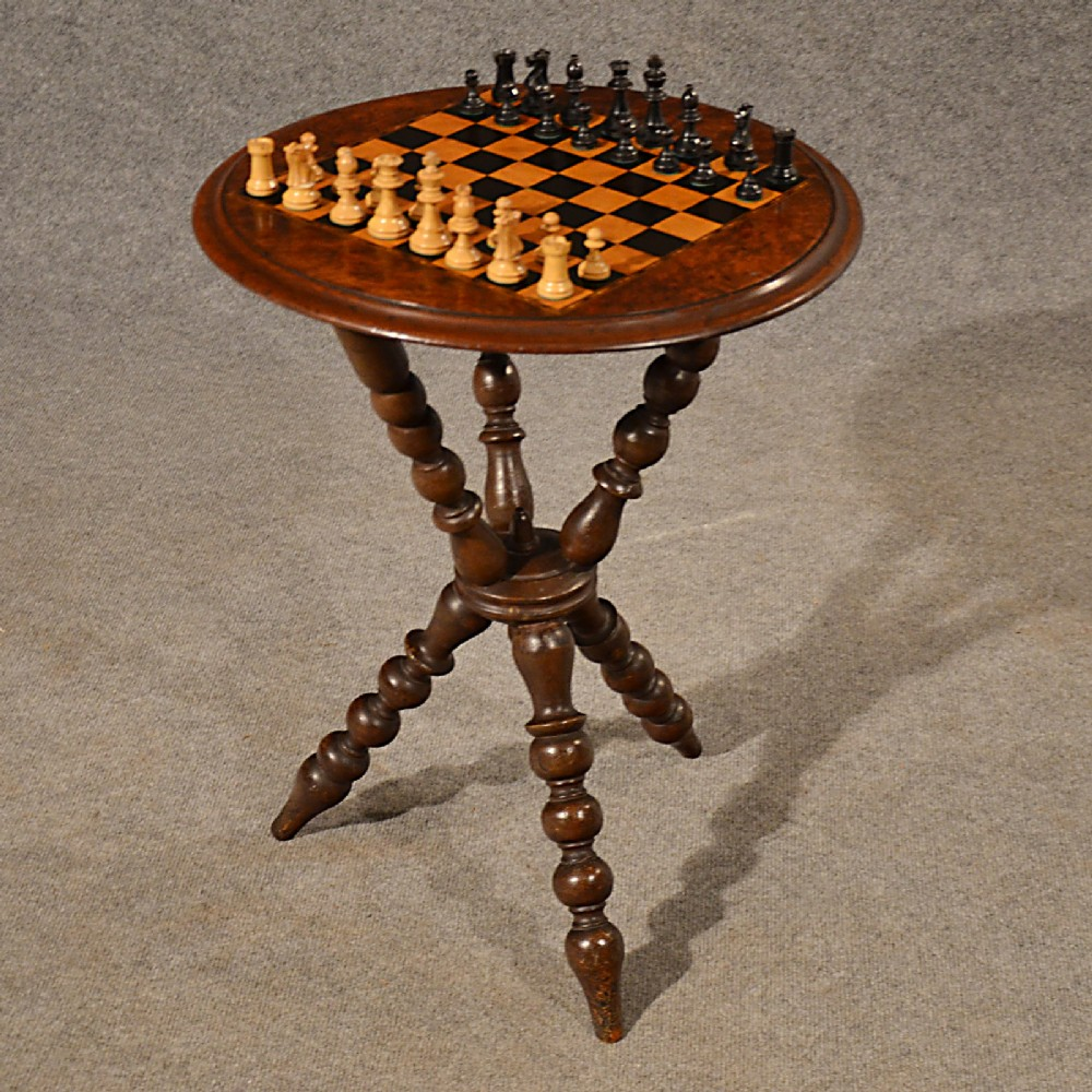 Antique Chess Table Games Gypsy Lamp Wine Burr Walnut