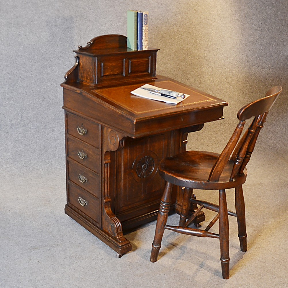 Antique Writing Desk ~ Antique davenport desk victorian english oak pedestal