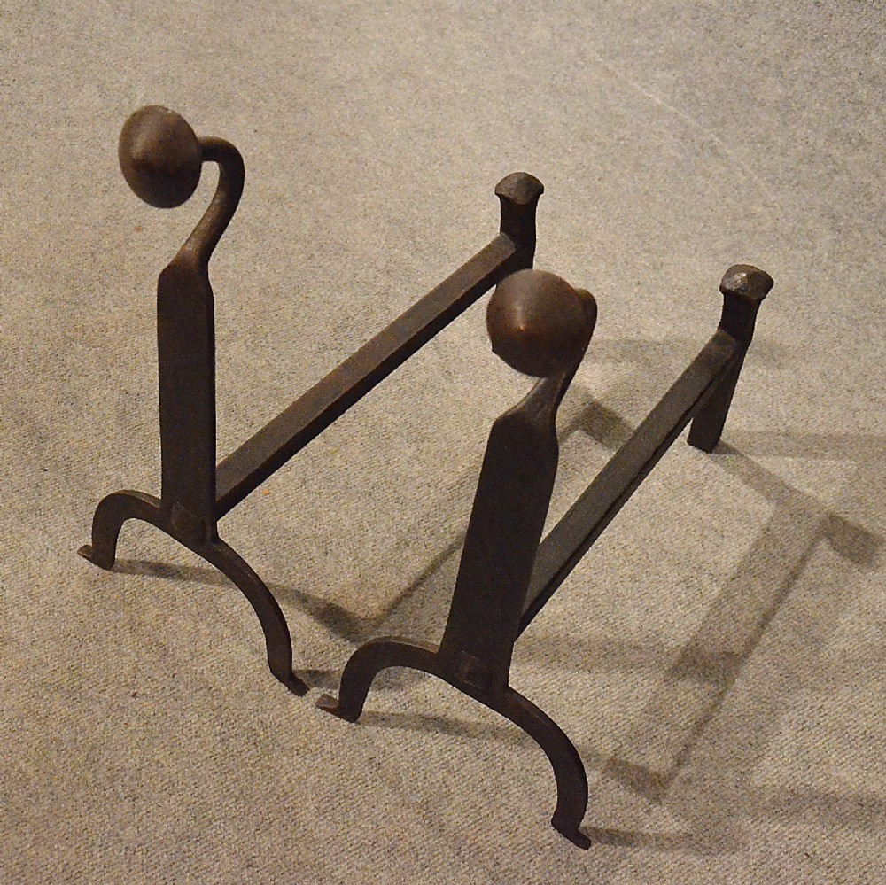 Antique Fire Dogs Andirons Chimney Hearth Fireplace Iron Grate Rests C1900 358047