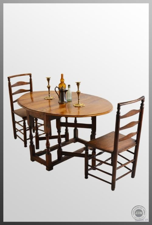 Antique Gate Leg Oak Fruitwood Drop Leaf Table C1720early Georgian Oval Dinin