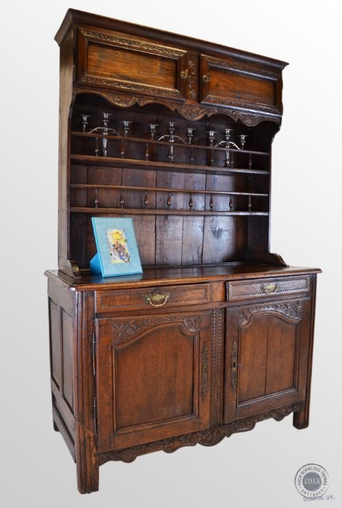 antique oak walnut french country dresser kitchen buffet display cabinet c1800