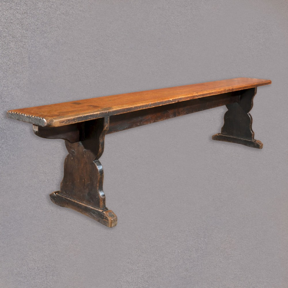 Antique Pine Bench Long Victorian Trestle Seat Kitchen Seating School Form 346394