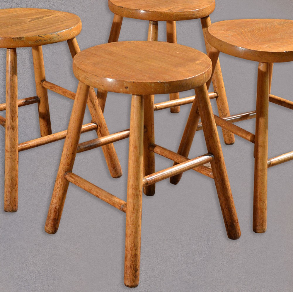 Antique Set 4 French Country Kitchen Stools Elm Ash